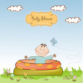 Baby bathe in a small pool . — Stock Vector