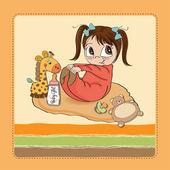 Baby girl shower card — Vector de stock