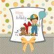 Little boy and presents — Stock Vector #37727491