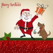 Postcard with Santa Claus and dog — Stock Vector