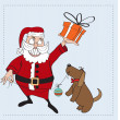 Postcard with Santa Claus and dog — Stock Vector #37728465