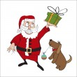 Stock Vector: Santa Claus with dog