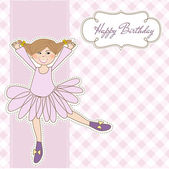 Sweet Girl Birthday Greeting Card — Stock Vector