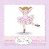 Sweet Girl Birthday Greeting Card — Stock Vector