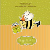 Birthday card with bee — Stock Vector
