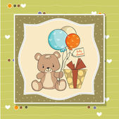 Card with teddy bear and balloons — Stock Vector