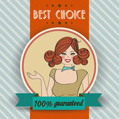 Retro woman and best choice message — Stockvektor
