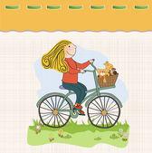 Girl on bike — Stock Vector