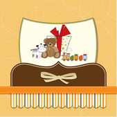 Card with cute teddy bear — Stock Vector