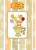 Card with cute teddy bear — Stock Vector