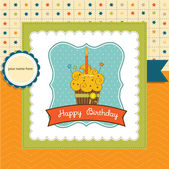 Birthday cupcake — Vector de stock