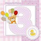 Third anniversary of the birthday card — Stockvektor