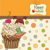 Girl and cup cake — Vector de stock