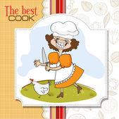Cuisinier qui gère un poulet — Vecteur