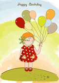 Card with girl holding balloons — Stock Vector