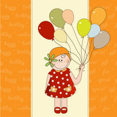 Birthday card with girl holding balloons — Stock Vector