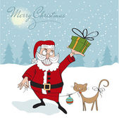 Santa Claus with cat — Stock Vector