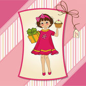 Happy Birthday card with girl and cup cake — Vector de stock