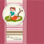 Valentine card with girl holding cupid's arrows — Stock Vector