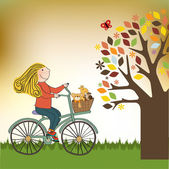 Happy girl on bike — Vector de stock