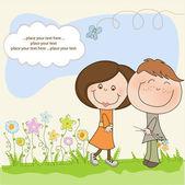 Счастливые любовники пара — Cтоковый вектор