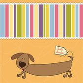 Tarjeta de ducha con perro alargado — Vector de stock