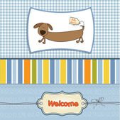 Shower card with long dog — Stock Vector