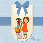 Young girl with gift — Stock Vector
