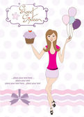 Sweet Sixteen Birthday card with young girl — Stock Vector