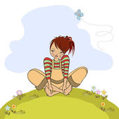 Romantic girl sitting barefoot in the grass — Stock Vector