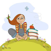 Studious girl sitting barefoot in the grasss — Stock Vector