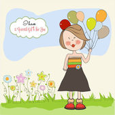 Meisje met ballon — Stockvector