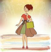 Girl at shopping — Stock Vector