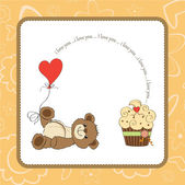 Valentine's Day card with teddy bear — Stockvector