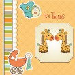Baby twins shower card — Stock Vector #37814003