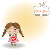 Girl with hearts. — Stock Vector