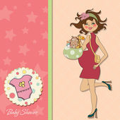 Baby shower pregnant — Stock Vector