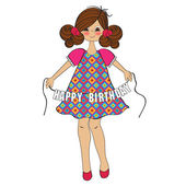 Girl wishing you happy birthday — Stock Vector