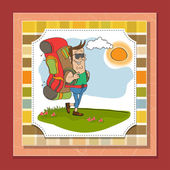 Tourist man traveling with backpack — Stock Vector