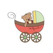 Funny teddy bear in stroller — Stock Vector