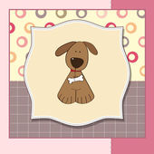 Greeting card with small dog — Stock Vector