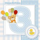 Third anniversary of the birthday card — Stock Vector
