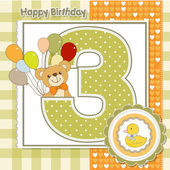 Third anniversary of the birthday card — Stock Vector