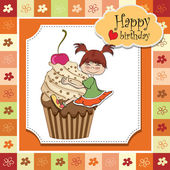 Card with cupcake and little baby — Stock Vector