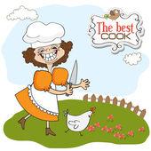 Cuisinier gère un poulet — Vecteur