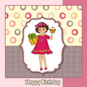 Happy Birthday card with funny girl — Stock Vector