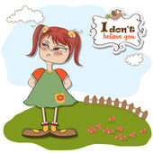 Girl distrustful — Stock Vector