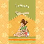Girl first birthday — Stock Vector