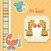 Baby twins shower card — Stock Vector