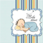 Baby shower invitation with sleeping boy — Stockvector